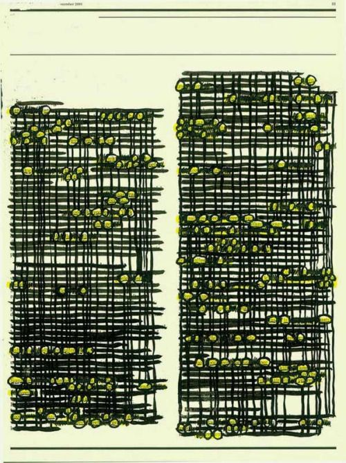 'An an (score of the combinations of letters which repeat themselves nearby)' (2001) by Tanja Smit. via fresh pressed art