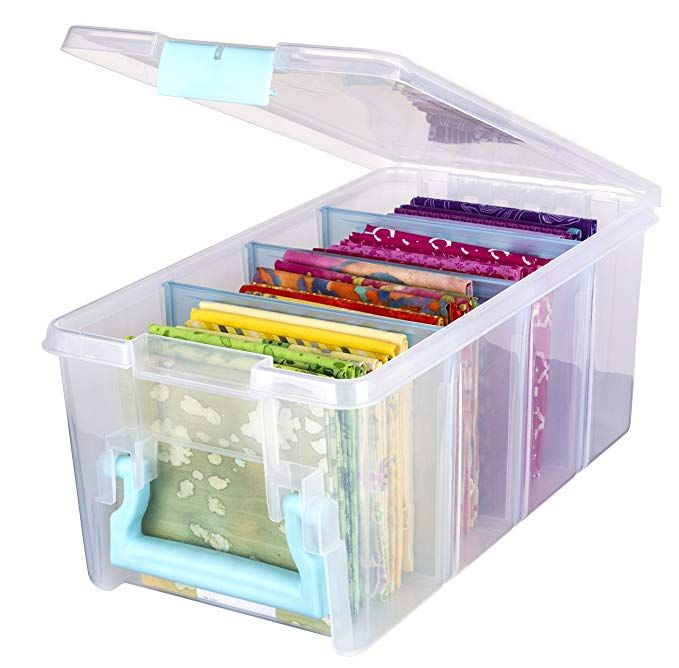 f80b1cddc03d ArtBin Art Craft Storage Box, Super Semi-Satchel-Clear with Aqua ...