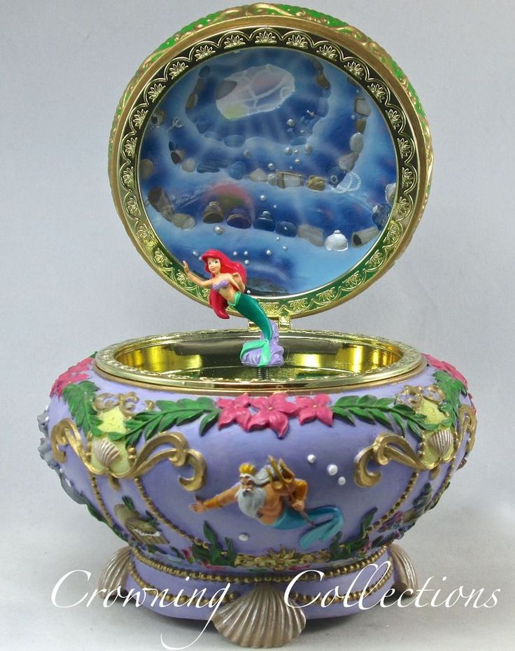 Disney The Little Mermaid Ariel Music Box Princess Jewelry 3D Round Trinket RARE