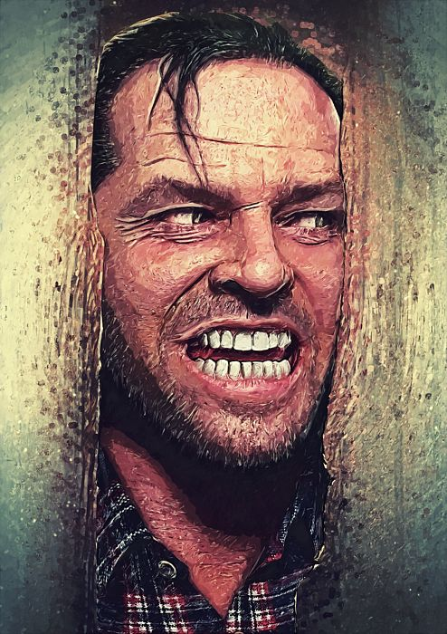 jack torrance, here's Johnny, portrait, illustration, digital painting, the shining, Stephen king, jack Nicholson, movie adaptation, 80s, horror novel, psychological horror, Stanley Kubrick, shelley Duvall, redrum, the long stare, murder, dark art, psycho, dark art, halloween, serial killer, illustration, pop art, decorative, home decoration, living room, bedroom, office, cafe, bar, cinema, hollywood, cool, gift ideas, square, poster, wall art, gothic, blood, vintage, retro, cult, film…