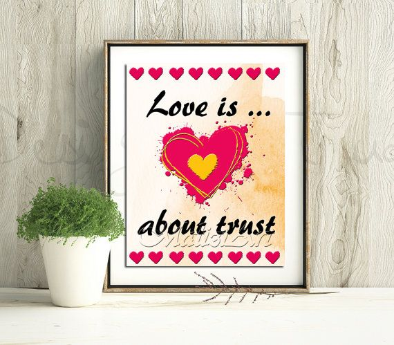 Love is about trust  8x10 Amore Quote Inspiration di MaliziArt