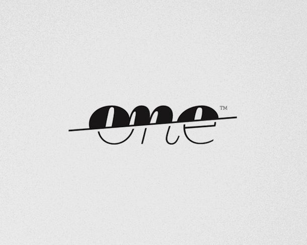 "I think the line slashing thorough ""one"" is appealing to the eye. It shows good use of alignment and contrast."