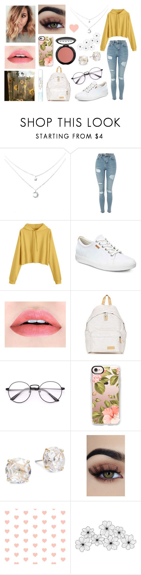 """Untitled #9"" by jellymcfarland on Polyvore featuring Topshop, ECCO, LORAC, Eastpak, Casetify, Kate Spade and WALL"