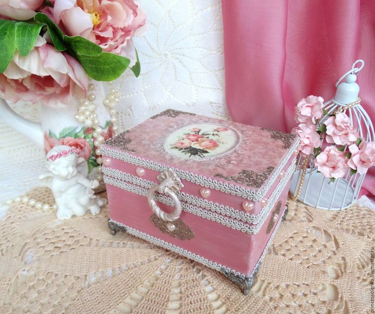 Купить «Нежный винтаж» Шкатулка-ларец для украшений, чая, рукоделия, винтаж - розовый, винтаж
