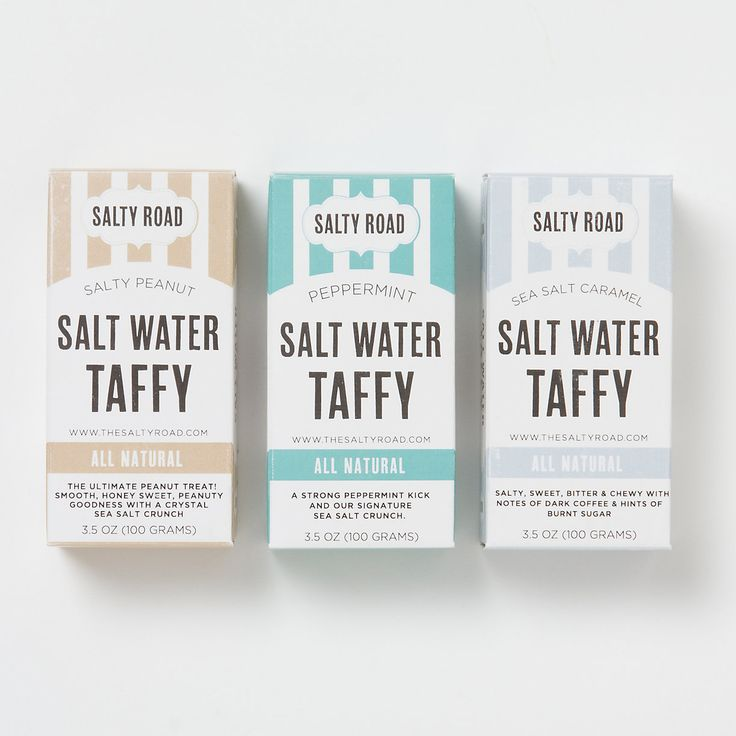 Salt Water Taffy | Terrain. Made in Brooklyn using all-natural ingredients, this old-fashioned taffy from Salty Road, available in peanut, salted caramel, and peppermint with a unique, sea salt crunch - have to try these!