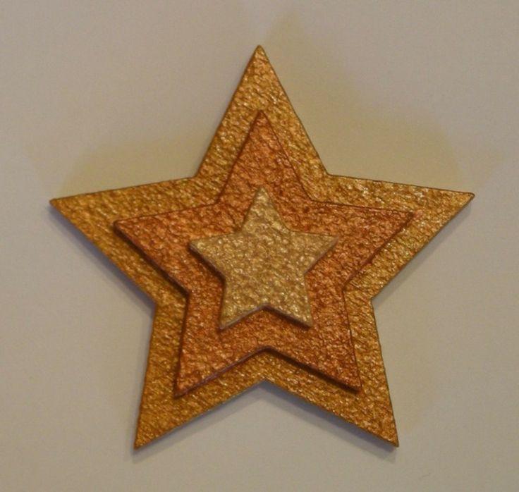 Magnet 3 toiles en bois dor cuivr objets d co for Decoration murale etoile