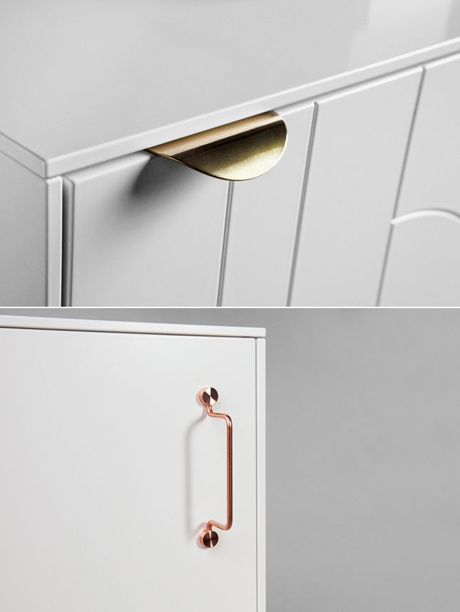 Copper and brass handles for #Ikea cabinets by 'Superfront'