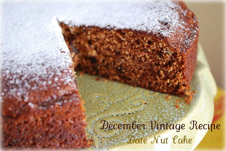 Date Nut Cake- Project Vintage Recipes December recipe - Amee's Savory Dish