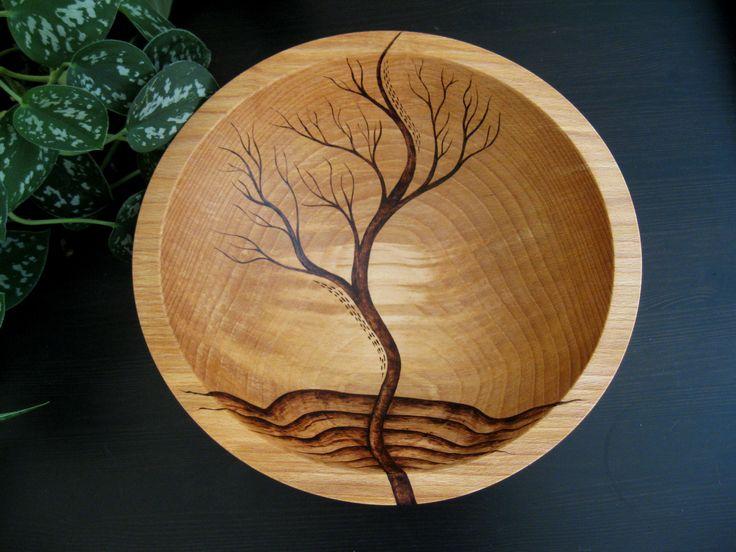 Wooden Bowl- Rising Tree, Wedding Gift,  Salad Bowl, Beech Wood, Pyrography, Woodburning. $159.00, via Etsy.