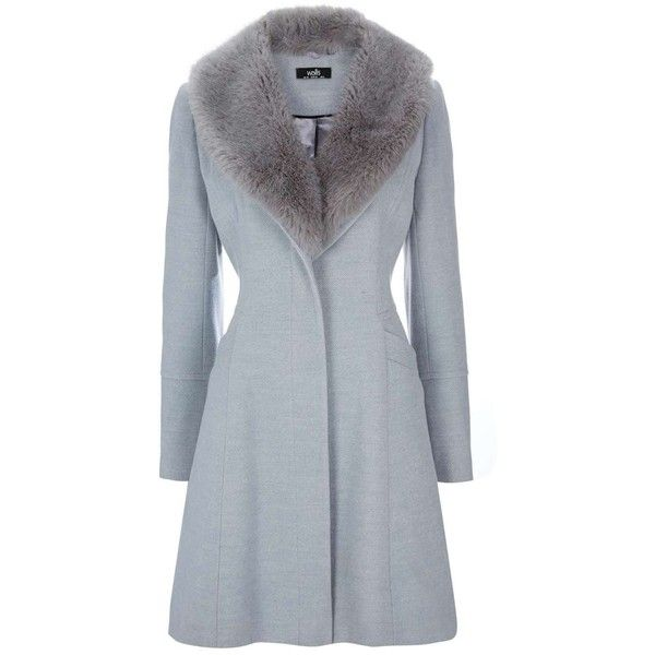 Petite Grey Fit And Flare Coat ($79) ❤ liked on Polyvore featuring outerwear, coats, jackets, пальто, gray coat, grey coat and petite coats