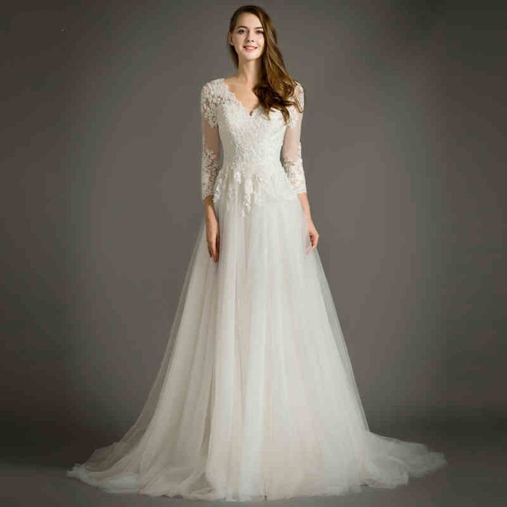 Find More Wedding Dresses Information About Elegant A Line Long Sleeve