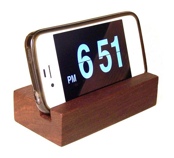 iPhone Phone Stand - Wood Docking/Charging Station for iPhone 4 and 5. Walnut, Cherry, or Oak. Handcrafted/Handmade.