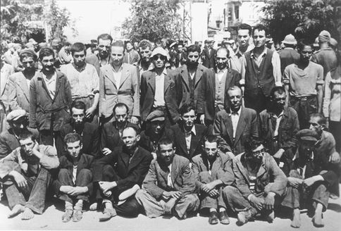 Saloniki, Greece, July 1942, Jews arrested by the Germans, before deportation to death camps.