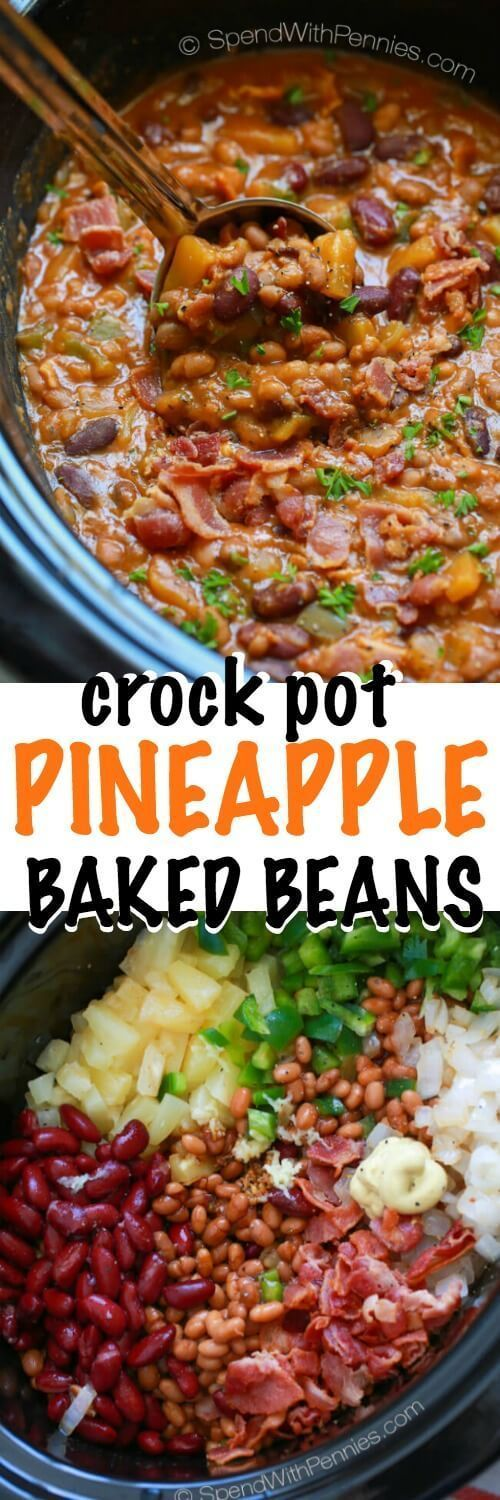 Pineapple Crock Pot Baked Beans make for a one of a kind delicious side dish for your next BBQ or potluck. The recipe comes together in a flash and it is likely to disappear quickly as your friends an (Bake Beans)