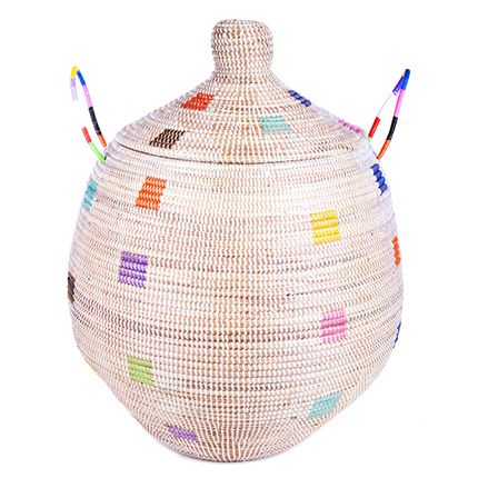 Rainbow Dot Large Gourd Storage Basket