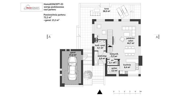 Projekt domu HmeKONCEPT 3 www.homekoncept.pl