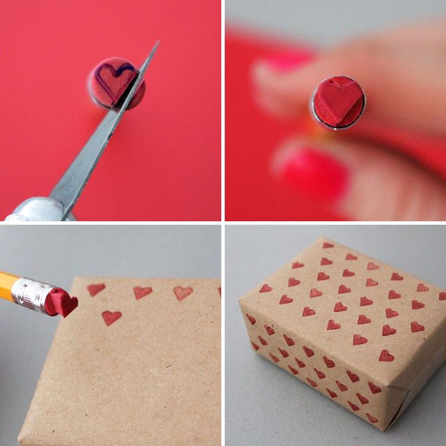 You can use an Xacto knife to turn a pencil eraser into a heart-shaped stamp - so love-ly!  I think this would work great for nails!