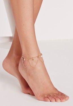 Charm Detail Anklet Gold