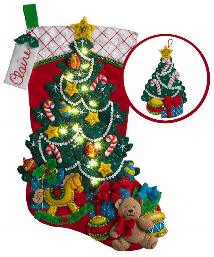 """Christmas Tree Surprise 18"""" Appliqued Felt Christmas Stocking with a FREE Christmas Tree Ornament by sewsimplyFabulous on Etsy"""