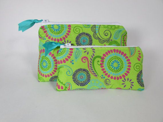 Cosmetic Bags Set of Two Green Floral Pattern Handmade Makeup Bag Toiletry Bag Zipper Pouch Cosmetic Case