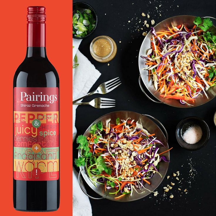 PALATE PAIRINGS Love a light, flavour-packed salad + want a bold red pairing? Our Shiraz Grenache pairs perfectly with this Asian Slaw with Peanut-Ginger Dressing. Get the wine through the link in our bio. 🍷 Get the recipe: Curious Nut