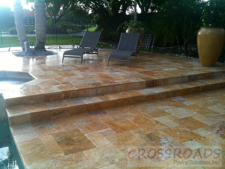 tumbled marble pool deck | paver pool decks | pinterest