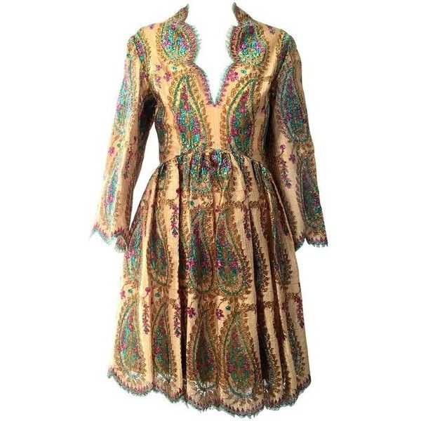 Preowned 1960s Bill Blass Gold Lace Dress ($1,200) ❤ liked on Polyvore featuring dresses, brown, bill blass dress, yellow gold dress, braid dress, gold lace dress and brown lace dress