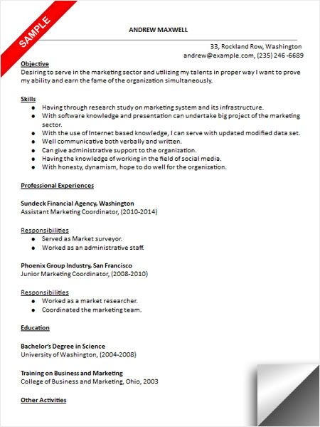 Marketing Coordinator Resume Sample | Resume Examples | Pinterest