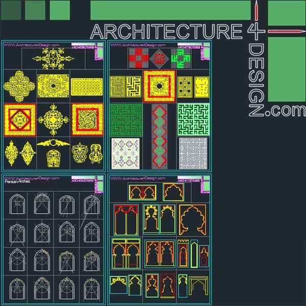 340 Islamic architecture ornament motifs and arches for AutoCad (DWG