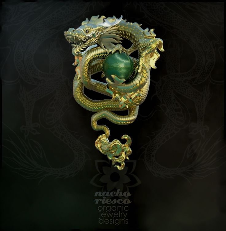 Dragon Pendant Concept sculpted in ZBrush and rendered in KeyShot by Nacho Riesco.