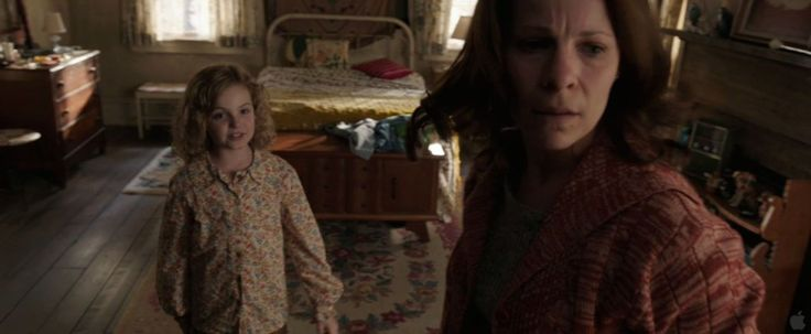 """The Conjuring (2013). April Perron is played by Kyla Deaver and Carolyn Perron is played by Lili Taylor. April: """"You took your blindfold off. I win. I was in Christine and Nancy's room."""""""