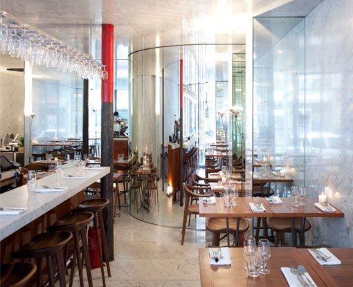 """11th arrondissement""""Run by Inaki Aziparte and his team from Le Chateaubriand, in a room designed by Rem Koolhaus, this wine bar serves creative small plates such as skate with herbs and black radish.""""  —Alice WatersRestaurant Info: Le Dauphin"""