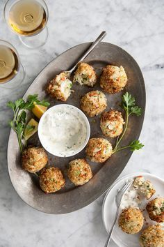 Crab Cake Poppers with Spicy Aioli is an easy but elegant appetizer | http://foodiecrush.com