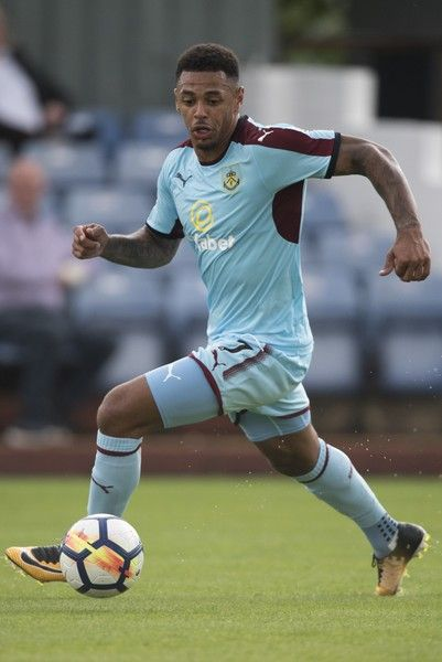 Andre Gray of Burnley in action during a pre season friendly match between Kidderminster Harriers and Burnley at Aggborough Stadium on July 22, 2017 in Kidderminster, England.
