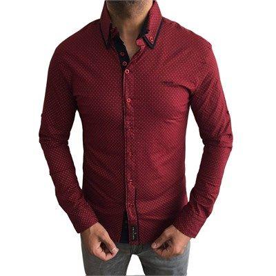 Erkek Italyan Slim Fit Likralı Gömlek Bordo