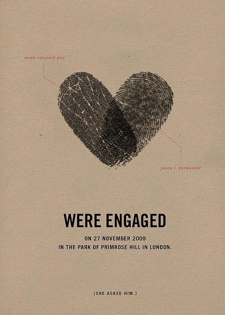 fingerprint announcement: Engagement Parties, Thumb Prints, Wedding Announcements, Cute Ideas, Wedding Invitations, Fingerprints, Date Ideas, Engagement Cards, Engagement Announcements