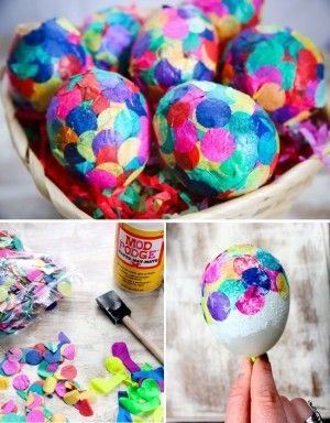 Huevos de Pascua decorados con confeti, encuentra más manualidades para pascua en http://www.1001consejos.com/manualidades-para-pascua/