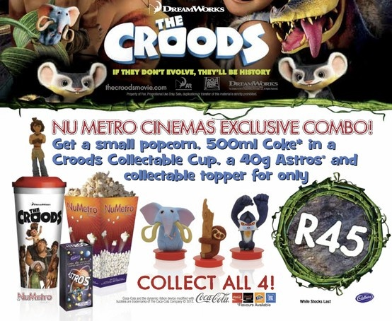 Get a small popcorn, 500 ml Coke in a Croods collectable cup, a 40 g Astros, and collectable topper for only R45. Collect all four! $45