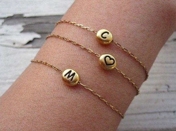 love these sweet little initial bracelets / $25