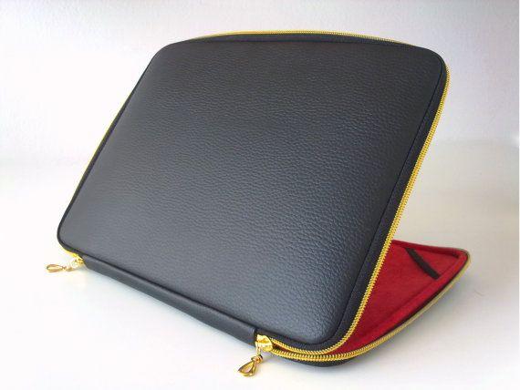 Etui en cuir noir pour ordinateur portable, étui en cuir, laptop Sleeve-Housse, sac pour ordinateur portable en cuir, fermeture éclair or, classique, pour ordinateur portable, ordinateur portable 15,6, couverture, macbook pouces 15,17