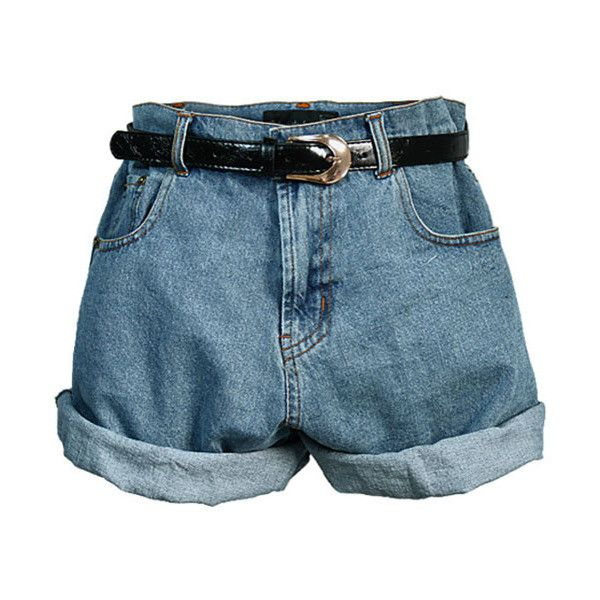 Retro Oversized High Waist Denim Shorts with Waistband ($41) ❤ liked on Polyvore
