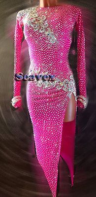 K5416 Evening Ballroom gown women rumba samba latin chacha dance dress UK 12