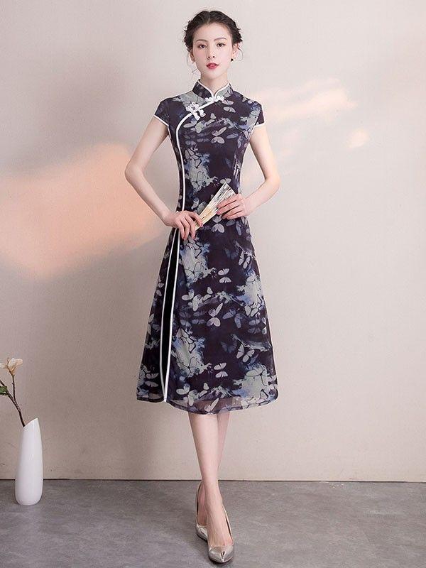 45d3befdf Purple Floral A-Line Midi Qipao / Cheongsam Dress | Nihao, China ...