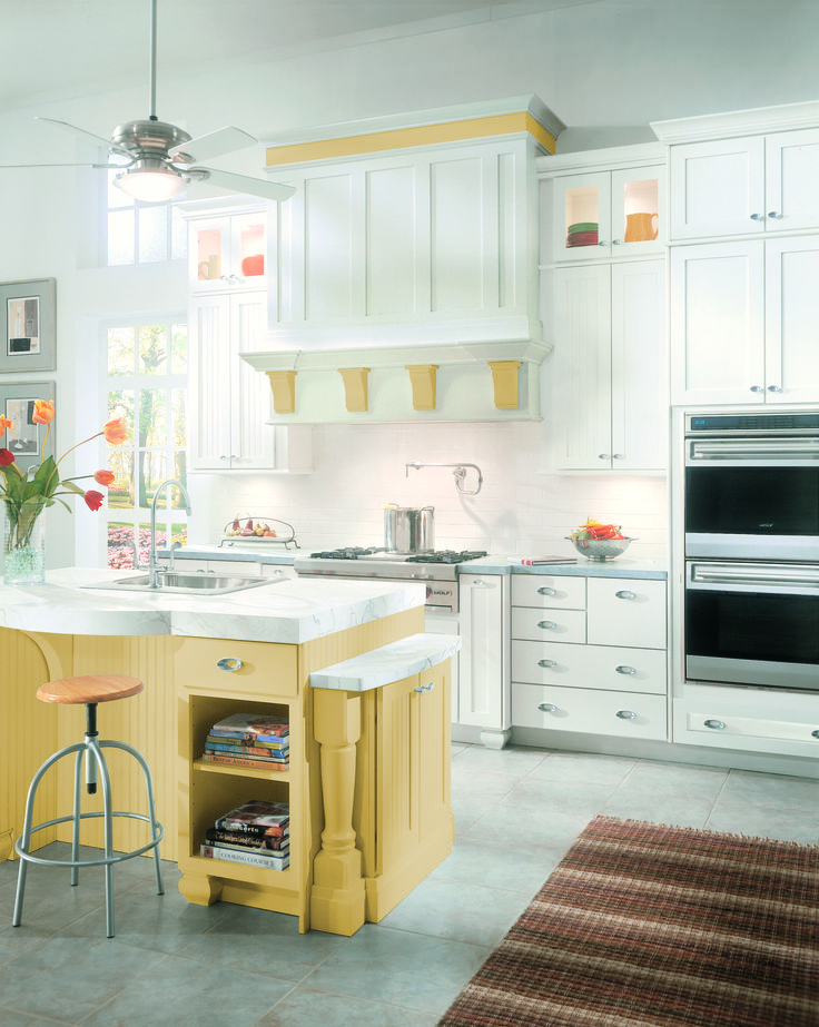 ColorInspire Kitchen With Yellow Island Color Cabinets