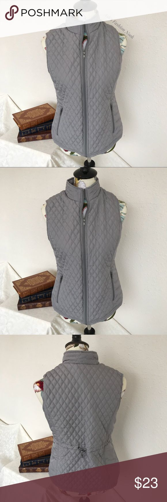 💠Just in💠 Relativity-Silver Vest 🌸Brand: Relativity🌸 Color(s): Silver Size: Small Stretch: no Fabric Content: 100% polyester  Condition: EUC! Note: no flaws! Great winter vest! Not quite a puffer vest but it does have filling in it.   Measurements: Pit to pit: ~19 inches Length: ~23.5 inches  📦Bundle all the items you like, and I will send you a personalized, no obligation, offer!📦(E) Relativity Jackets & Coats Vests