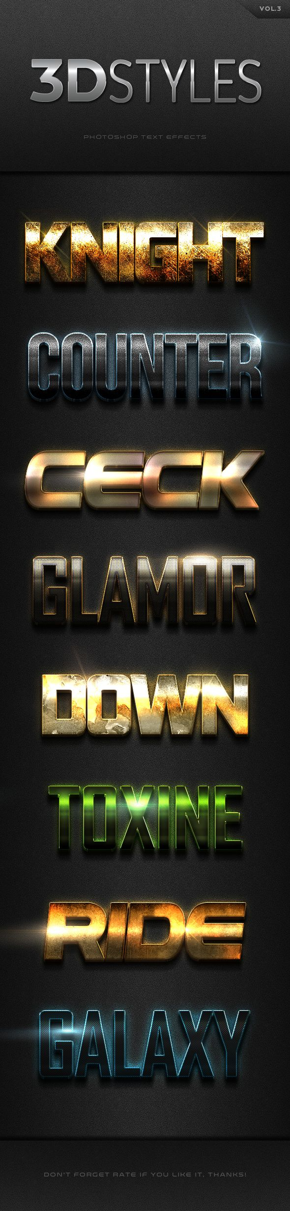 3D Photoshop Text Effects. Download here: http://graphicriver.net/item/3d-photoshop-text-effects-vol3/16562410?ref=ksioks