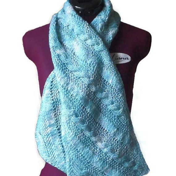 Hand Knit Scarf in Hand Dyed Merino Wool -Turquoise Colors- Winter Accessory - Turquoise Scarf - Hand Knit Gift For Women - Handmade Gift