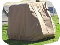 Golf Cart Cover for 2 Passenger Golf Carts with added rear seat. by Champion Covers. Golf Cart Cover for 2 Passenger Golf Carts with added rear seat.