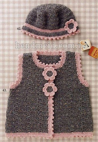 Turquoise vest with flowers for girls