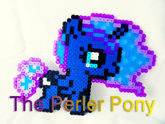 My Little Pony Silly Filly Perler Ponies: Glitter Hair Princess Luna by ThePerlerPony